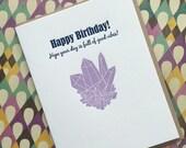 Crystal Birthday - letterpress card