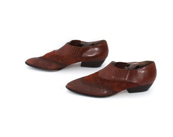size 9 CHELSEA brown leather 80s 90s WESTERN slip on ankle boots