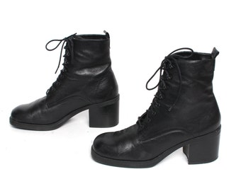 size 9 PLATFORM black leather 80s 90s GRUNGE COMBAT lace up high heel boots