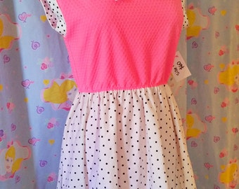 Fairy kei dress, 80s clothing pop kei neon pink polka dot size L Large