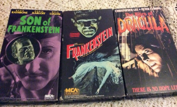3 vhs horror Frankenstein Dracula and Son of by chenilleworks