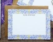 Purple Mosaic Custom Stationery / Flat Notes / Set (10) / A7 Size