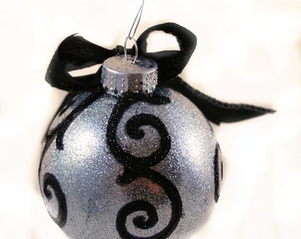 Holiday Ornament - Silver with Black Switls with Bow - Goth - Decoration - Christmas - Gifts under 20