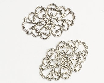 20 pcs of  antiqued Silver plated brass  filigree oval 20x30mm