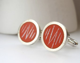Round Orange Cufflinks - Modern Cuff-links - Resin & Silver Cuff links - Wedding Gift for Groom, Groomsmen - Seismic Cufflinks