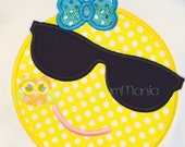 Emoji Too Cool Sunglasses Monogrammed Tee - Custom Boutique Personalized Tee - Short Sleeve Tee