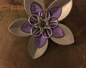 Purple and silver Celtic etched Faerie Flower pin