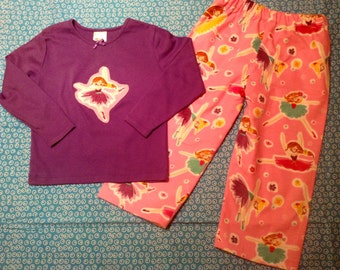 BALLERINA  flannel lounge set includes pants and tshirt with Ballerina  applique Size 4T