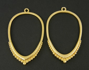 Gold Teardrop Earring Findings with Granulation Matte Brushed Gold Open Hoop Pendant Jewelry Component |G19-7|2