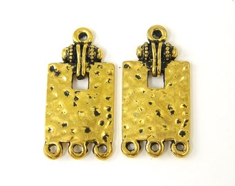 Antique Gold Connector Versatile Earring, Pendant or Bracelet Finding Rectangle Hammered Texture 1 to 3 Jewelry Link |AN3-13|2