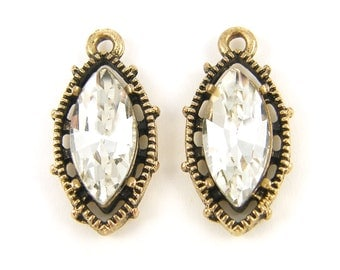 Clear Marquis Rhinestone Earring Finding Antique Gold Pendant Charm Drop Jewelry Component |G3-11|2