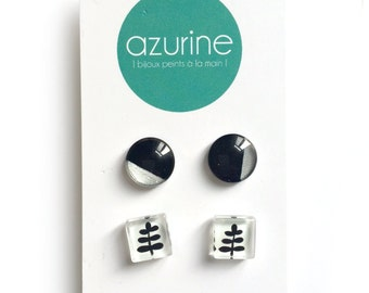 Black and white fern minimalist earring set - handpainted glass by azurine -