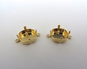2 Gold Plated Square Empty Cup Bases with 2 Loops for Swarovski 12mm 4470