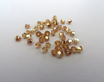48 Metallic Sunshine Swarovski Crystals Beads Bicone 5328 3mm