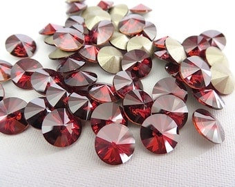 12 Red Magma Foiled Swarovski Crystal Rivoli Stone 1122 39ss 8mm