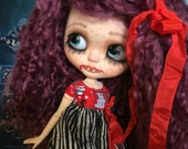 Custom Blythe Vampire goth doll bjd with Custom Made Doll Coffin