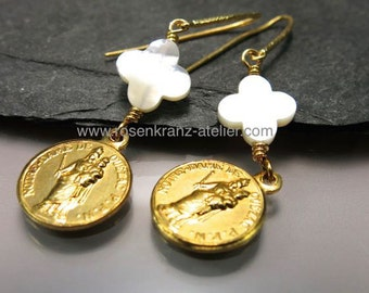 Earrings antique Notre Dame de Quézac goldplated medal