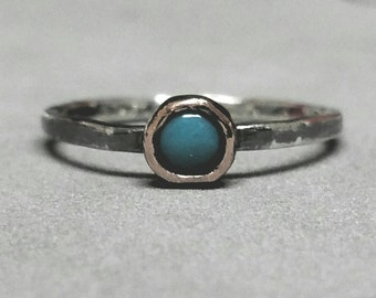 Small Turquoise Ring, Pinky Size 3 Turquoise Ring , Blue Pinky Ring, Mixed Metal Stacking Ring,  Oxidized Ring by Maggie McMane Designs