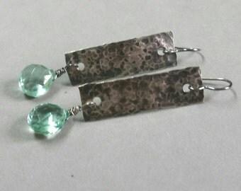 Green Quartz Earrings, Hammered Sterling Silver, Bar Earrings, Oxidized Green Stone Earrings, Drop Earrings, Long Maggie McMane Designs