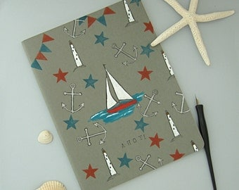 Nautical Notebook, Hand Painted Book, Lined Diary, Large Journal, Extra Large Moleskine Cahier, Nautical Diary, Sailboat Journal