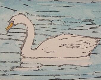 Swan Art Print Linocut Watercolor Swan Print 5 x 7 Unframed Print 1st Anniversary Gift Under 25 Hand Pulled Print by Texas Artist
