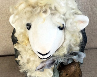 Sheep Head Faux Taxidermy