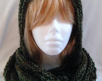 Hand Knit  Hoodie  Cowl Warm Hood Acrylic Yarn Shades Of Camo Varigated Yarn Woman Girl Teen Gift Hand Knit