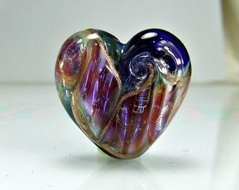 Blue Pink Lampwork Heart Focal Bead SRA BEADS
