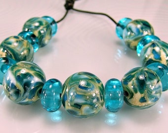 Blue Aqua Silver Lampwork Bead Set SRA Lampwork Glass Beads