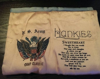 Vintage U.S. Army Sweetheart Poem Hanky Holder from Camp Claiborne