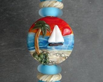 Lampwork Glass Bead Focal Set (7) Sail Boat Orange Sky