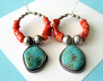 Navajo Royston and Red Coral Sterling Bench Bead Earrings