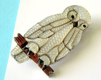 Zuni Channel Inlay and Sterling Silver Owl Pendant/Brooch