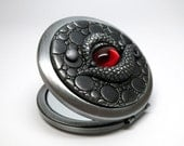 SUMMER SALE Compact Mirror Dragon Eye Pewter with Ruby Red Vintage Cab