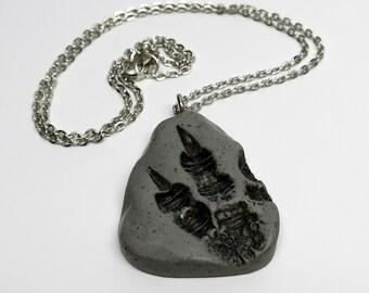 Super SALE! Dragon/Dinosaur Tracks Pendant Necklace, Polymer Clay