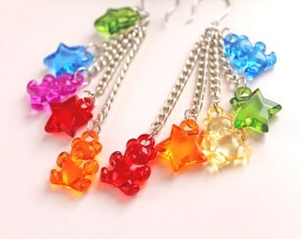 Stars and  Teddy Bear dangling earrings colorful multicolor kawaii fairy kei lolita