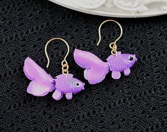 Dangling goldfish  earrings cute kawaii kitsch lolita purple fish