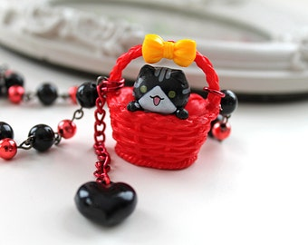 Kawaii black  cat in a red basket Necklace with bow lolita kitsch