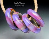 Handmade Glass Beads of Passion Rings Leah Lampwork - 4 Beyond Cool - Med
