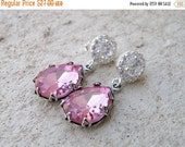 Clearance SALE Pastel Pink Earrings Foiled Teardrop Stone Rhinestone Silver Stud BEV6