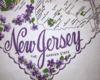 Vintage New Jersey  Hanky - Hankie Handkerchief