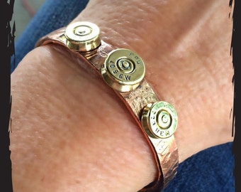 Thick Copper with Bullets Cuff Bracelet
