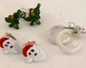 Vintage Christmas Post Earrings, White Hoops, Holiday Christmas Tree Post Earrings, 3 Pair Xmas Post Earring Set, Santa Claus Earring (E222)