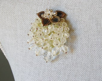 Vintage Miriam Haskell esque Brooch Fruit Design WWII 1940s Crystal Beads on Plastic Backing Frank Hess Leaves As Is