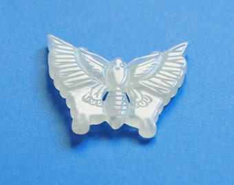 Vintage Chinese Carved Butterfly Light Jade Green 1930s Asian Finding Double Sided Pendant Amulet