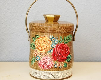 Vintage Tin Litho Box England Murray Allen Canvas Rose Cannister