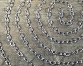 Oxidized stamped Oval, USA MADE, cable full Sterling silver southwest chain  12 inches, link 3x2 mm, charm bracelet and necklace chain