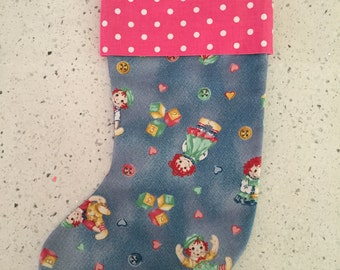 Christmas X'mas Stocking - Raggedy Ann and Andy With Pink Dot