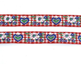 "Red & White Gingham Floral Heart Vintage Jacquard Ribbon 1"" Wide Sewing Trim - 3 yards - Sewing Supply, Sewing Trim, Cotton Jacquard"