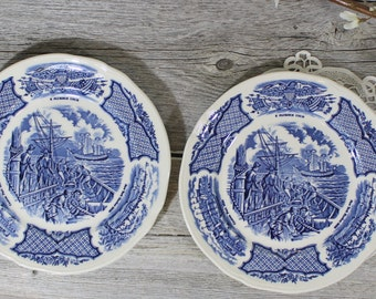 Old Blue and White Plates, Alfred Meakin Historical ,U.U.S Constitution, Staffordshire England, Fair Winds, Blue Transferware